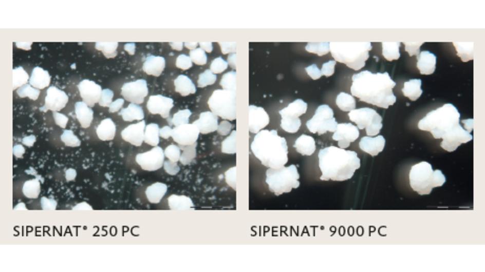 圖片說明:不同粒徑大小的 SIPERNAT® PC 產品,SIPERNAT® 250 PC 轉為身體磨砂應用設計;SIPERNAT® 9000 PC 為不敏感區域如腳部設計。