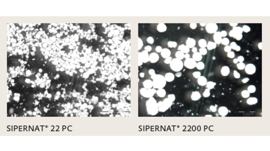 圖片說明:不同粒徑大小的 SIPERNAT® PC 產品,SIPERNAT® 22 PC 和 2200 PC 適用於敏感肌膚。