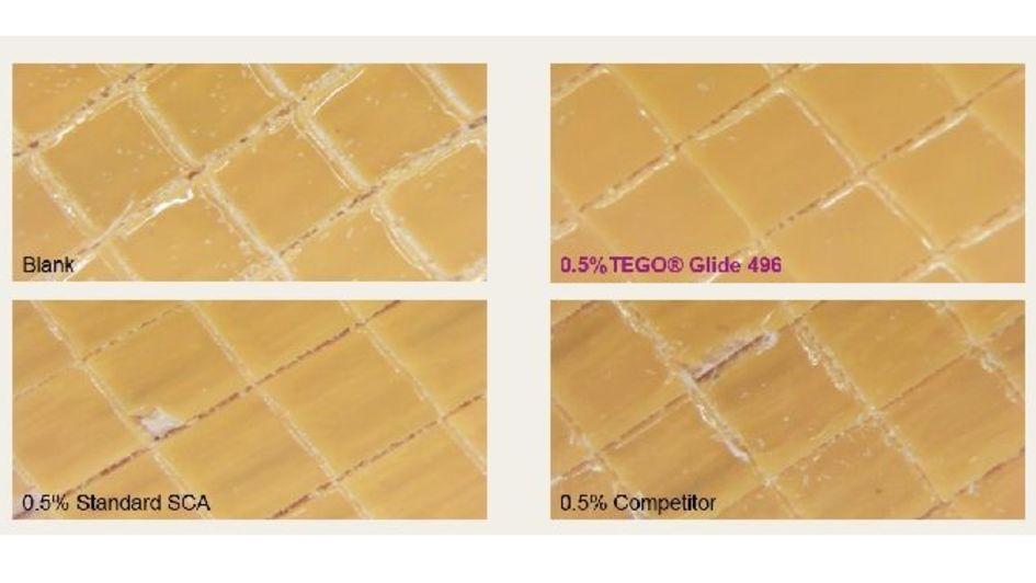 TEGO® Glide 496 在水性丙烯酸面漆中重塗附著力測試 (添加量 0.5 % )